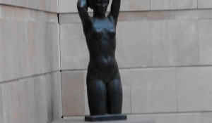 Female nude holding her hair